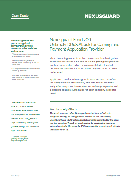 Nexusguard Fends Off Untimely DDoS Attack for Gaming and Payment Application Provider