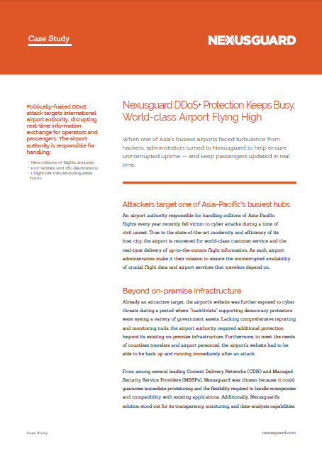Nexusguard DDoS Protection Keeps Busy, World-class Airport Flying High