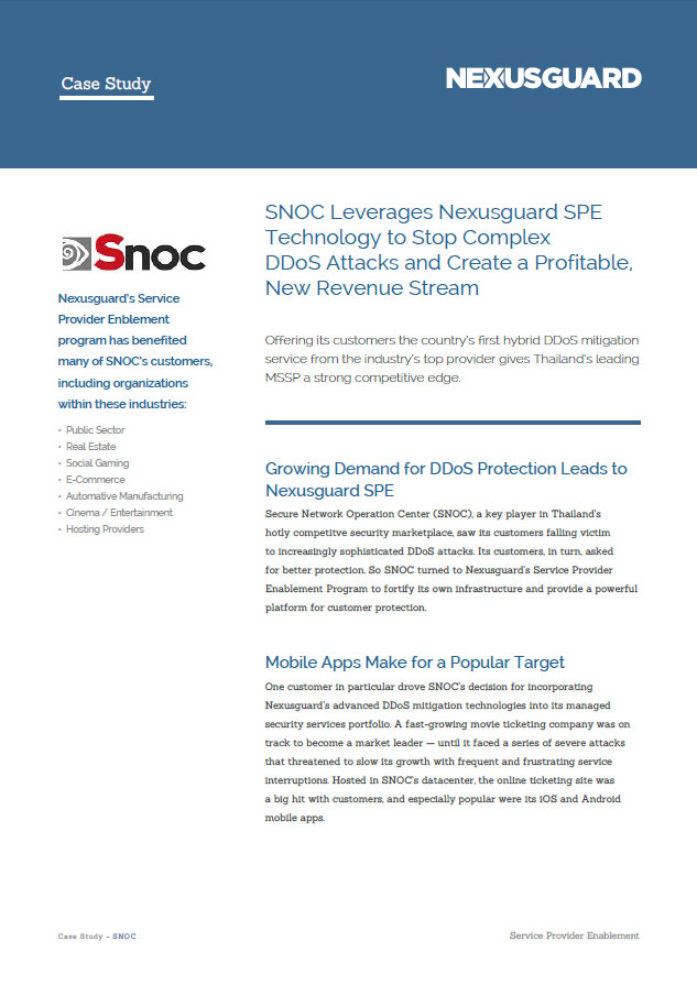 SNOC Leverages Nexusguard SPE Technology to Stop Complex DDoS Attacks and Create a Profitable, New Revenue Stream